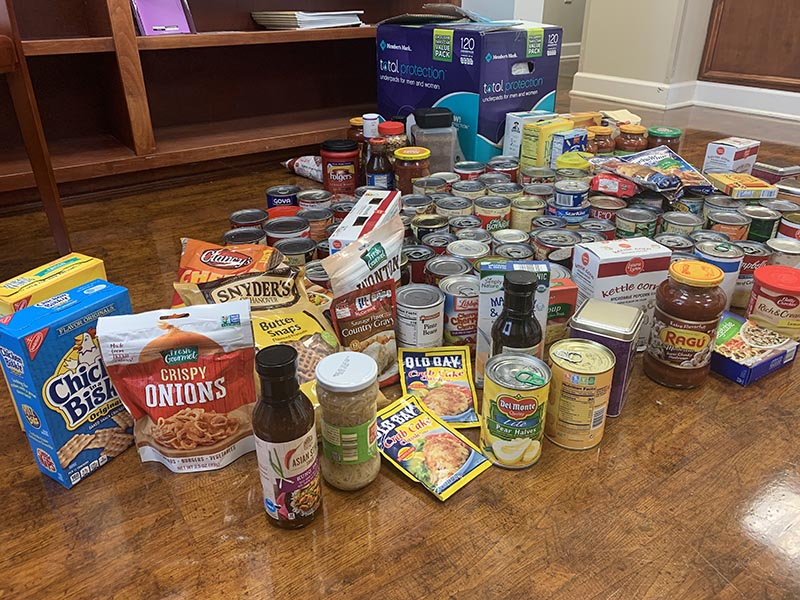 assorted non-perishable food items spread out